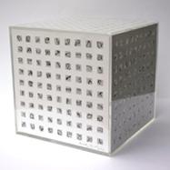 """Ohne Titel"", 2000, Acrylglas, Papier, Zwirn, Leim B:22cm T:22cm H:22cm"