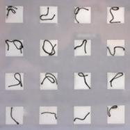 """Ohne Titel"", 2000, Acrylglas, Papier, Zwirn, Leim B:22cm T:22cm H:22cm, Detail"