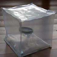 """""""Ohne Titel"""", 1998 PVC-Folie, Pappe, Wasserglas B:20cm T:20cm H:20cm"""