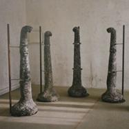 """""""NARADA""""/1995/ Wasserglas Papier, Metall/ 175cm x 60cm"""