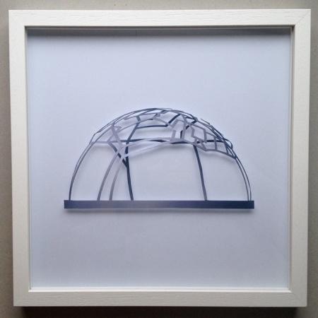 """Stadtkuppel"", 2013 Papierschnitt, B:30cm H:30cm T:6cm"