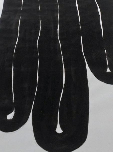 """""""Schlauchzeichnung"""", 1990, Tusche auf Papier, Detail"""