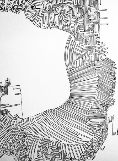 OT, 52 Tuschezeichnungen, 2001, H: 0,42m B:15,70m, Tusche auf Papier, Detail