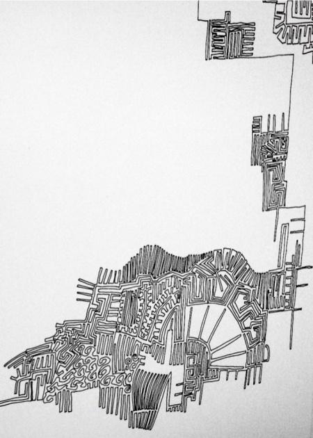 OT, 2001, 52 Tuschezeichnungen, Tusche auf Papier, H: 0,42m, B:15,70m, Detail